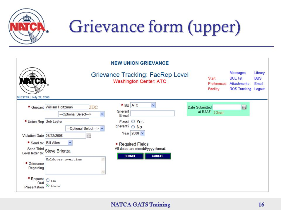 Grievance form (upper)