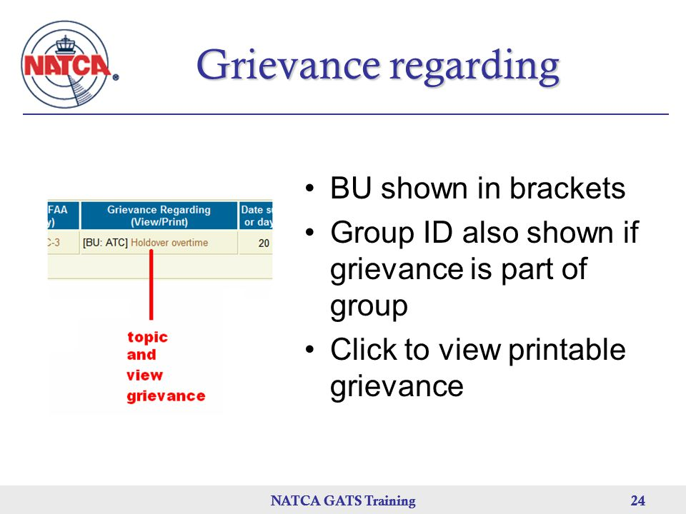 Grievance regarding BU shown in brackets