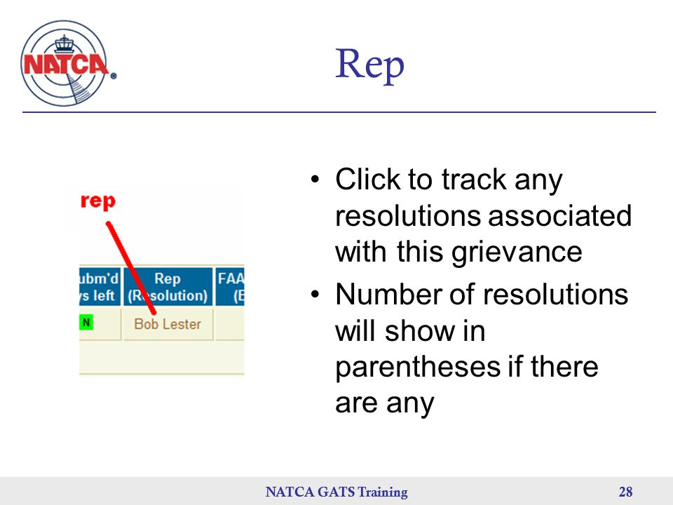 Rep Click to track any resolutions associated with this grievance