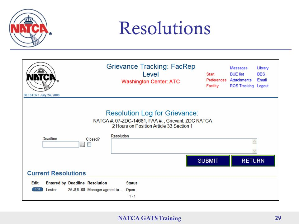 Resolutions NATCA GATS Training NATCA GATS Training 29