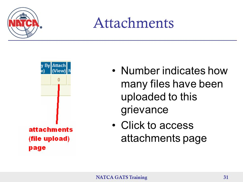 Attachments Number indicates how many files have been uploaded to this grievance. Click to access attachments page.