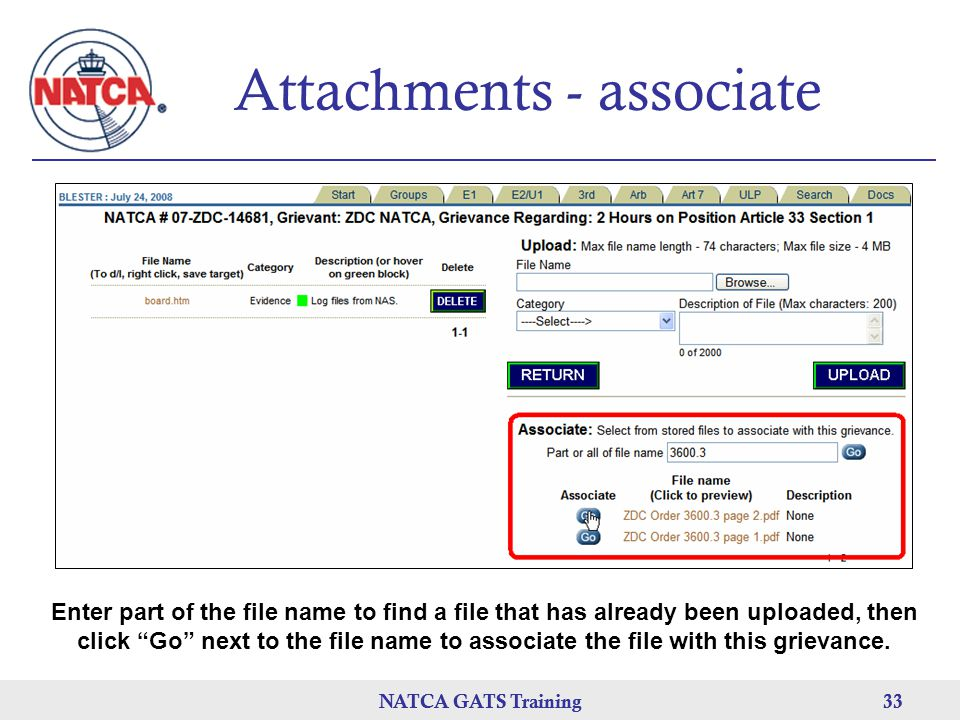 Attachments - associate
