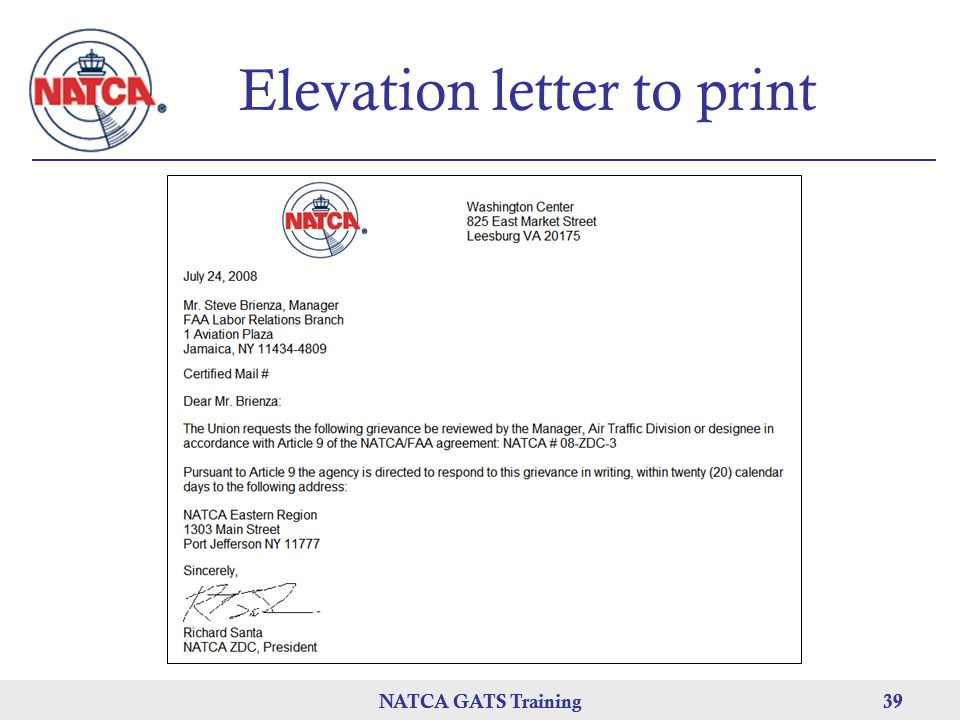 Elevation letter to print