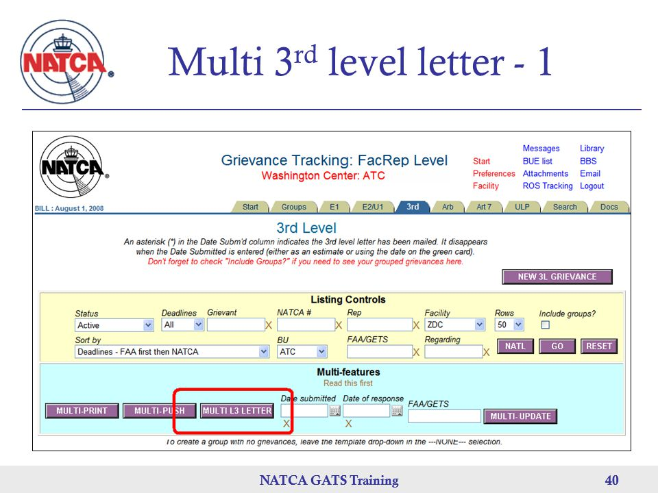 Multi 3rd level letter - 1 NATCA GATS Training NATCA GATS Training 40