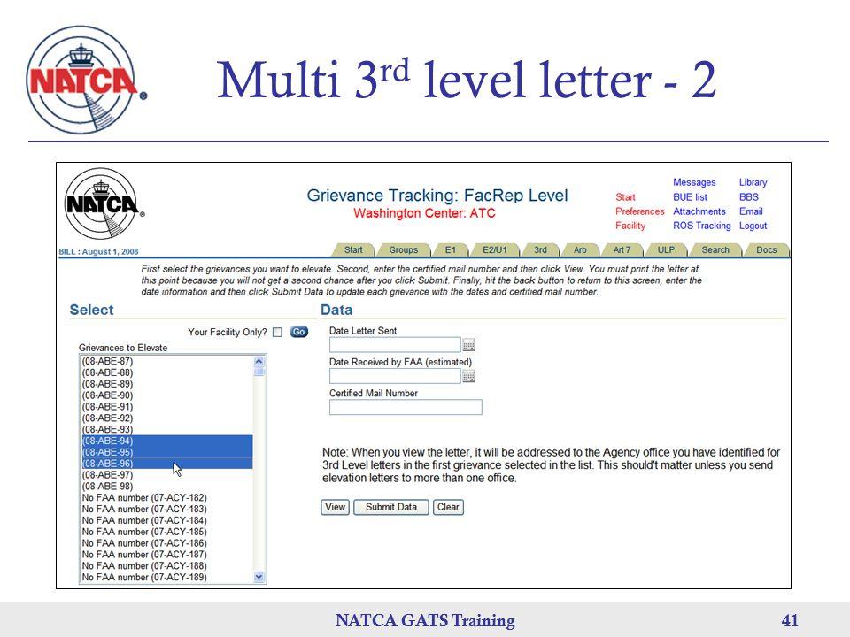 Multi 3rd level letter - 2 NATCA GATS Training NATCA GATS Training 41