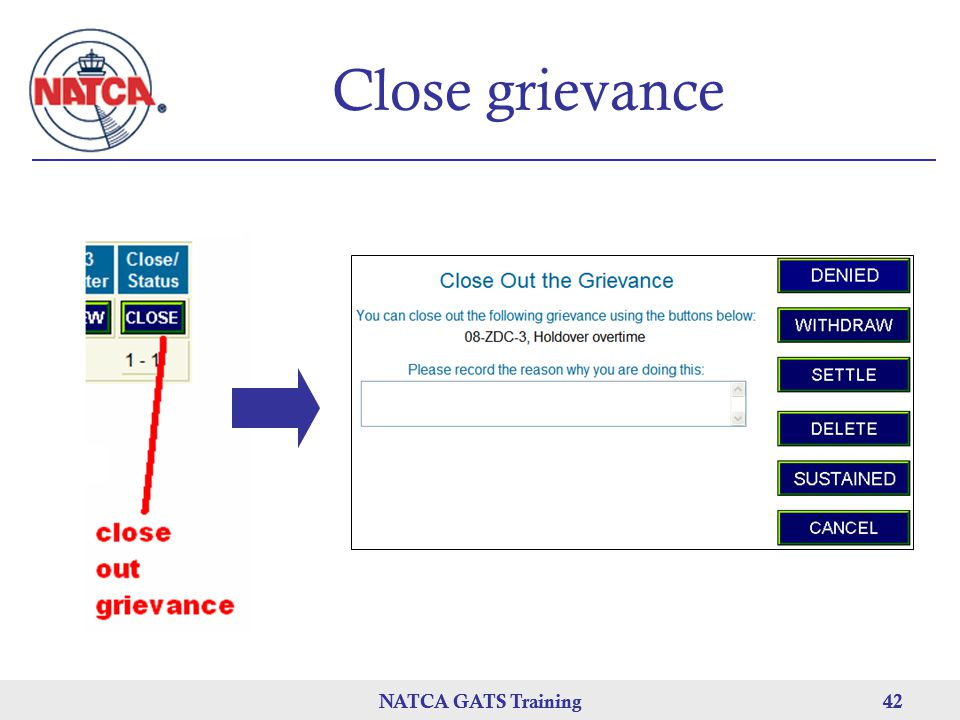 Close grievance NATCA GATS Training NATCA GATS Training 42