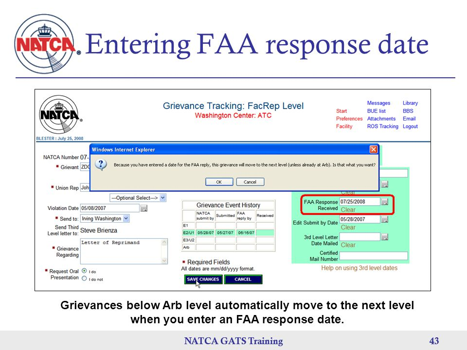 Entering FAA response date