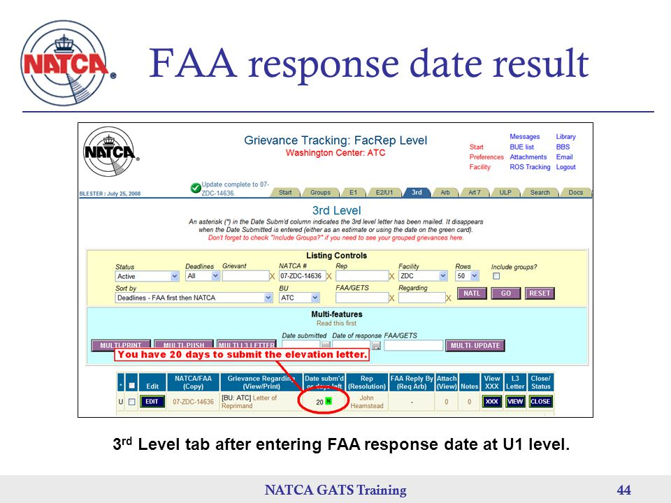 FAA response date result