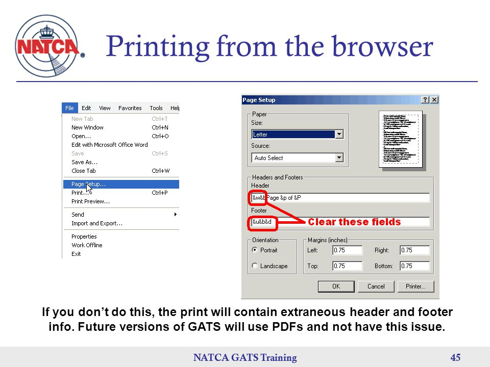 Printing from the browser