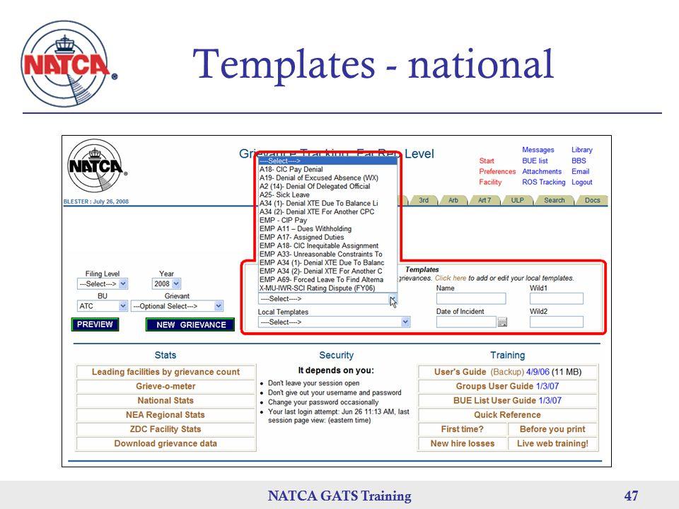 Templates - national NATCA GATS Training NATCA GATS Training 47