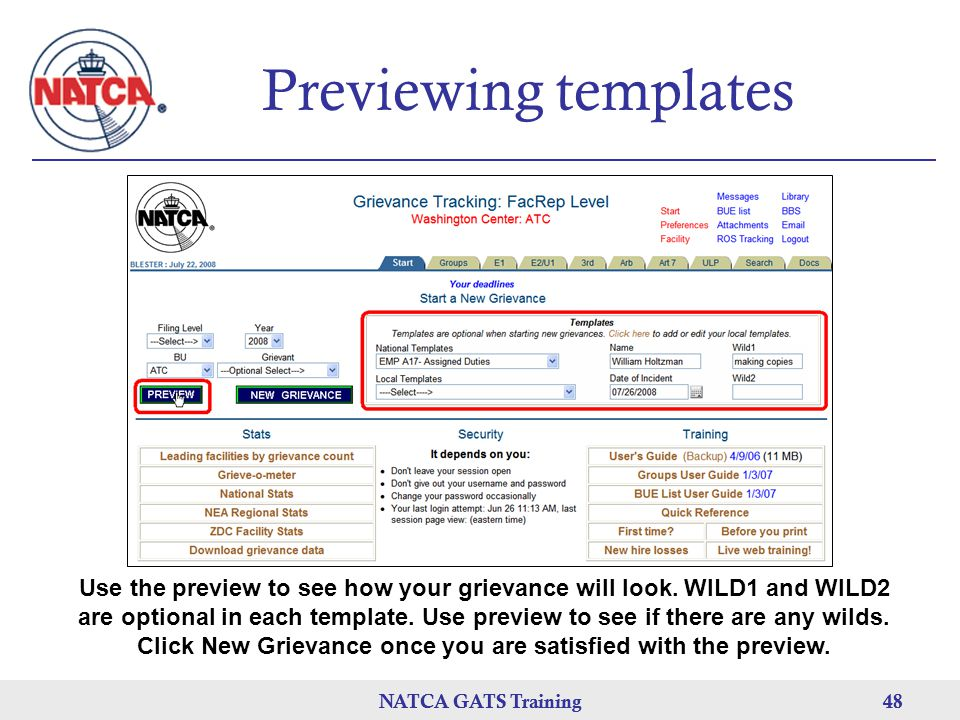 Previewing templates