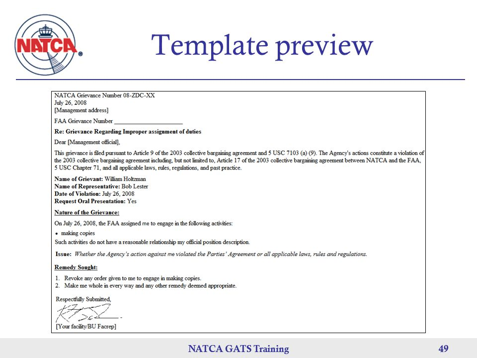 Template preview NATCA GATS Training NATCA GATS Training 49