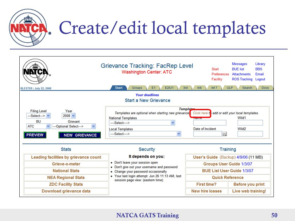 Create/edit local templates