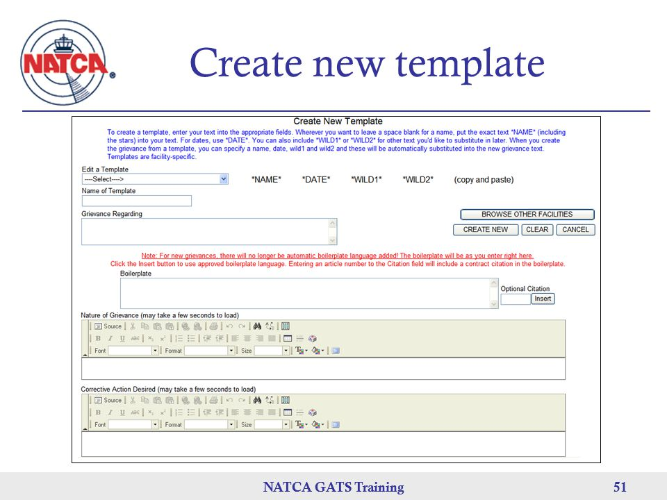 Create new template NATCA GATS Training NATCA GATS Training 51