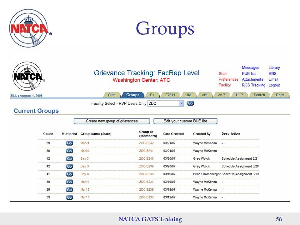 Groups NATCA GATS Training NATCA GATS Training 56