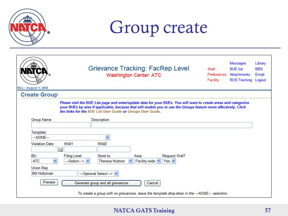 Group create NATCA GATS Training NATCA GATS Training 57
