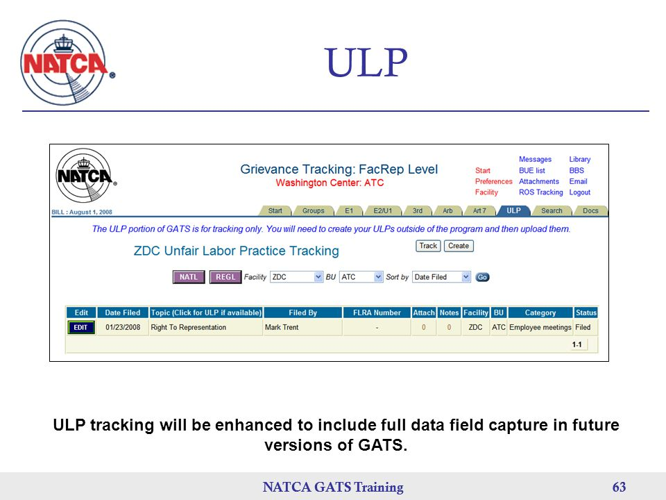 ULP ULP tracking will be enhanced to include full data field capture in future versions of GATS. NATCA GATS Training.