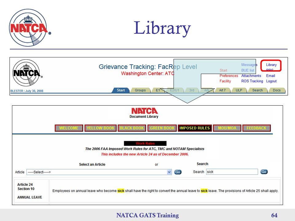 Library NATCA GATS Training NATCA GATS Training 64