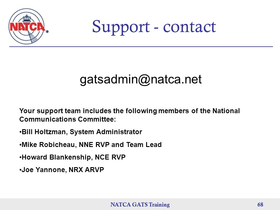 Support - contact gatsadmin@natca.net