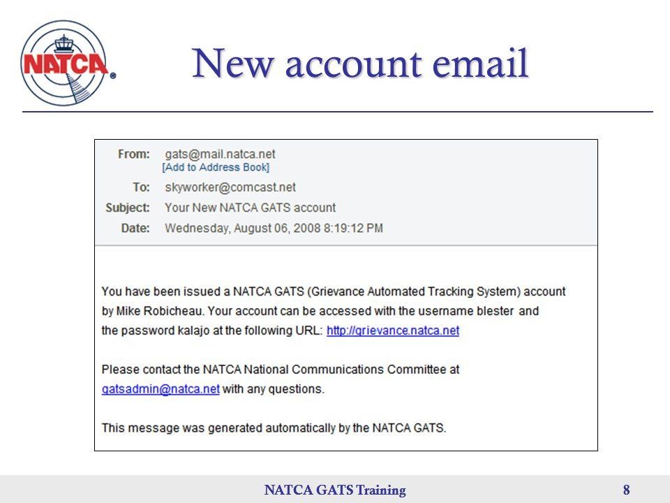 New account email NATCA GATS Training NATCA GATS Training
