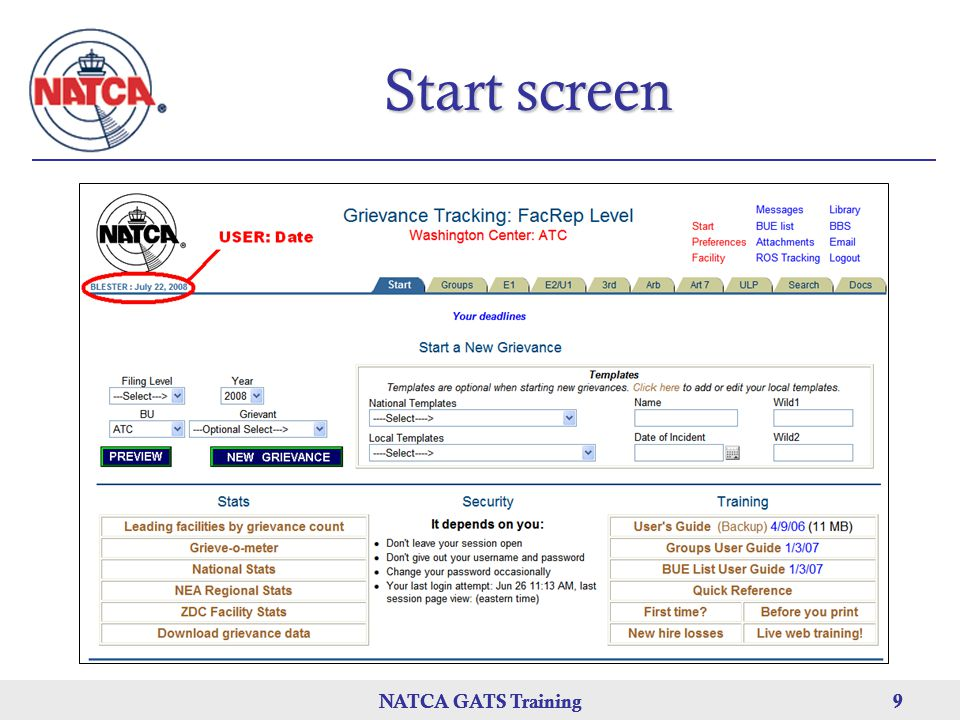 Start screen NATCA GATS Training NATCA GATS Training