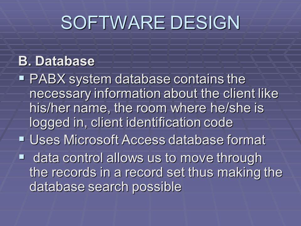 SOFTWARE DESIGN B. Database