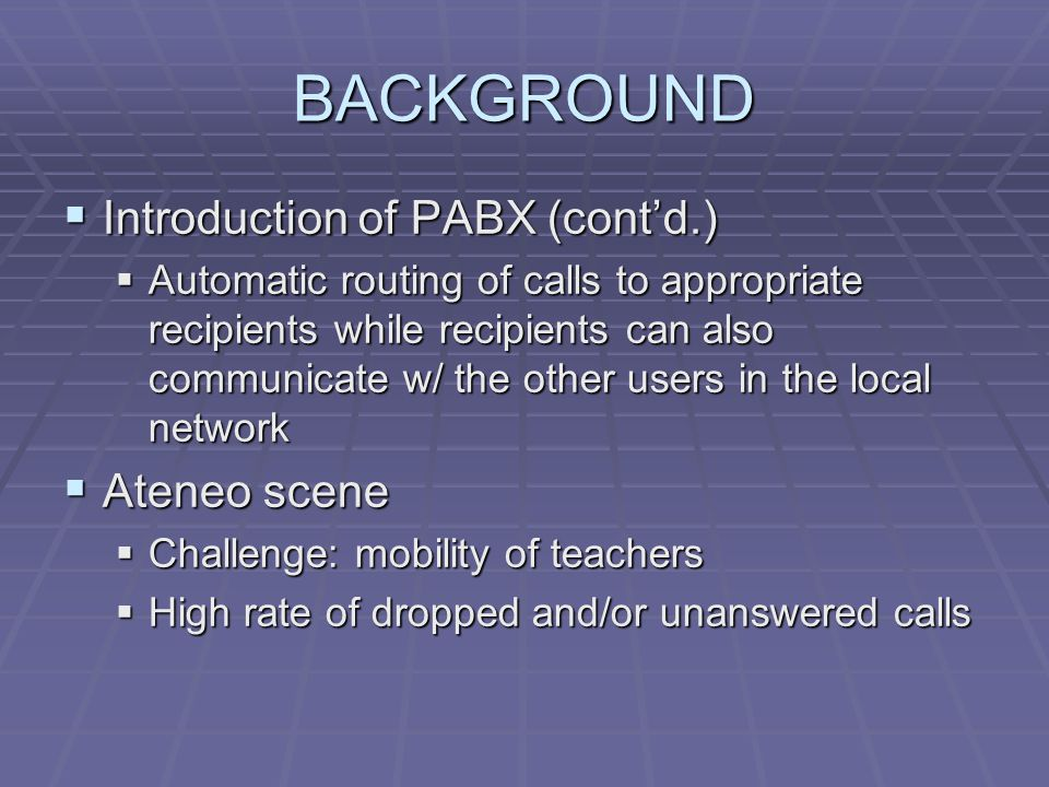BACKGROUND Introduction of PABX (cont'd.) Ateneo scene