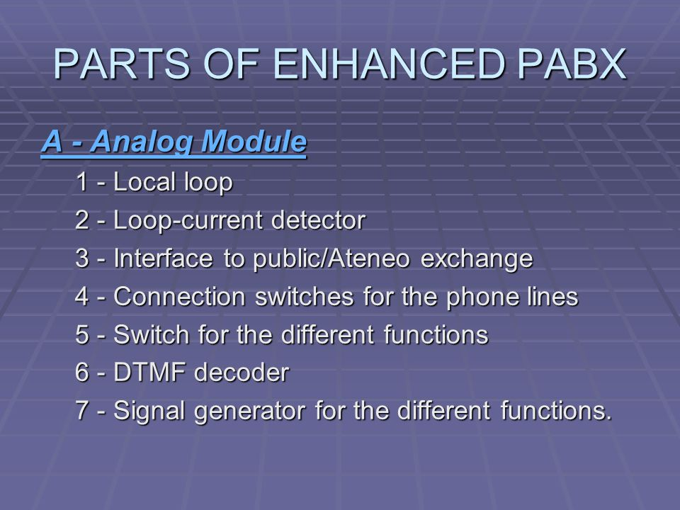 PARTS OF ENHANCED PABX A - Analog Module 1 - Local loop