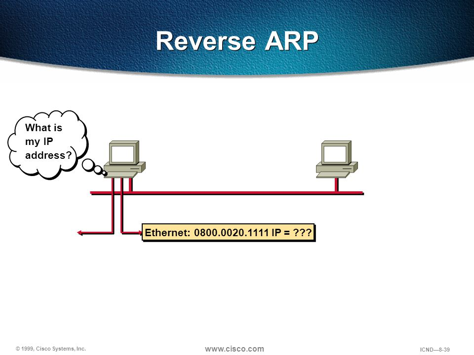 Reverse ARP What is my IP address Ethernet: 0800.0020.1111 IP =
