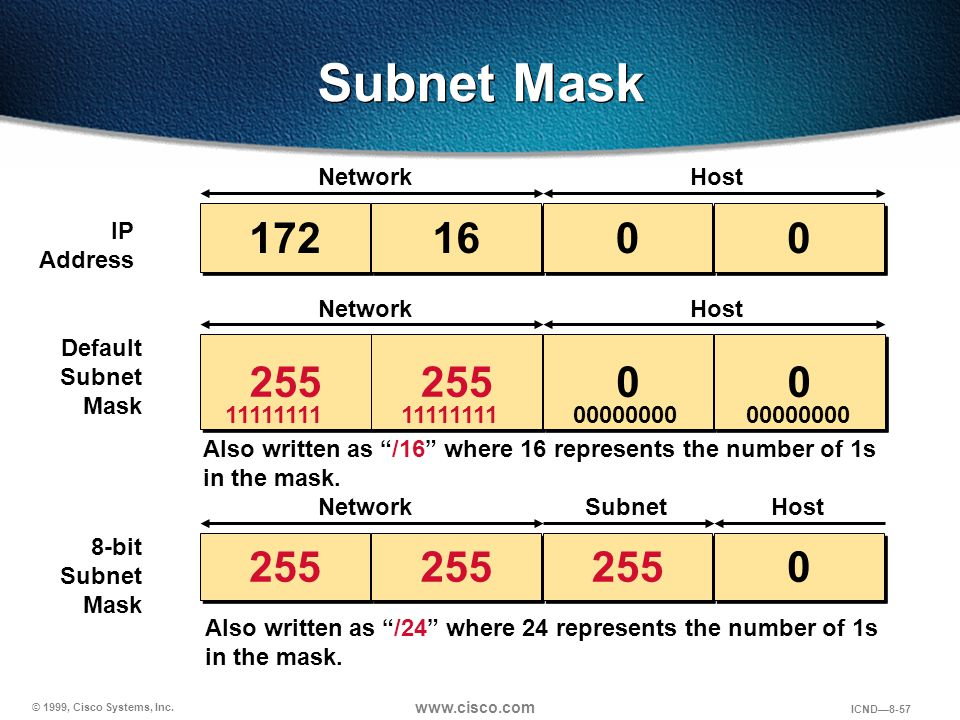 Subnet Mask 172 16 255 255 255 Network Host IP Address Network Host