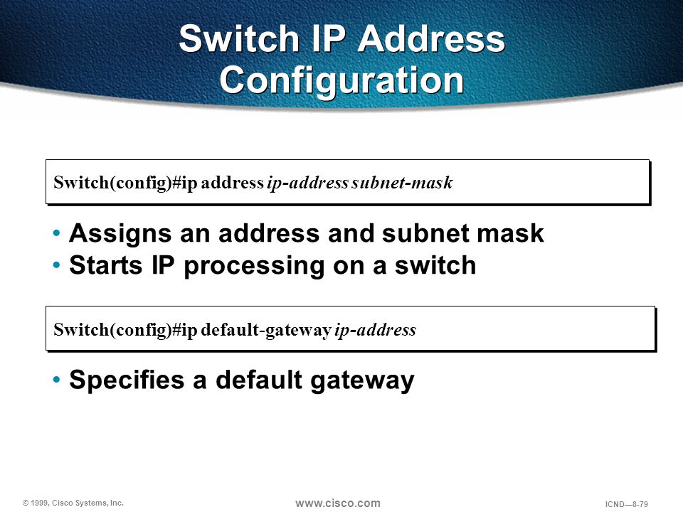 Switch IP Address Configuration