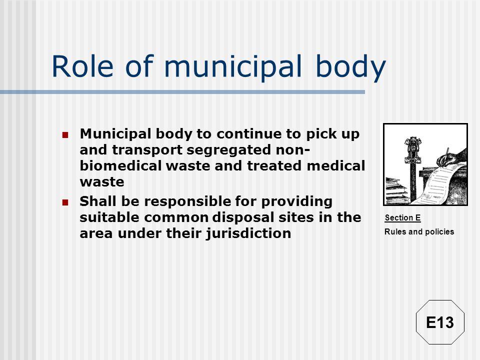 Role of municipal body E13