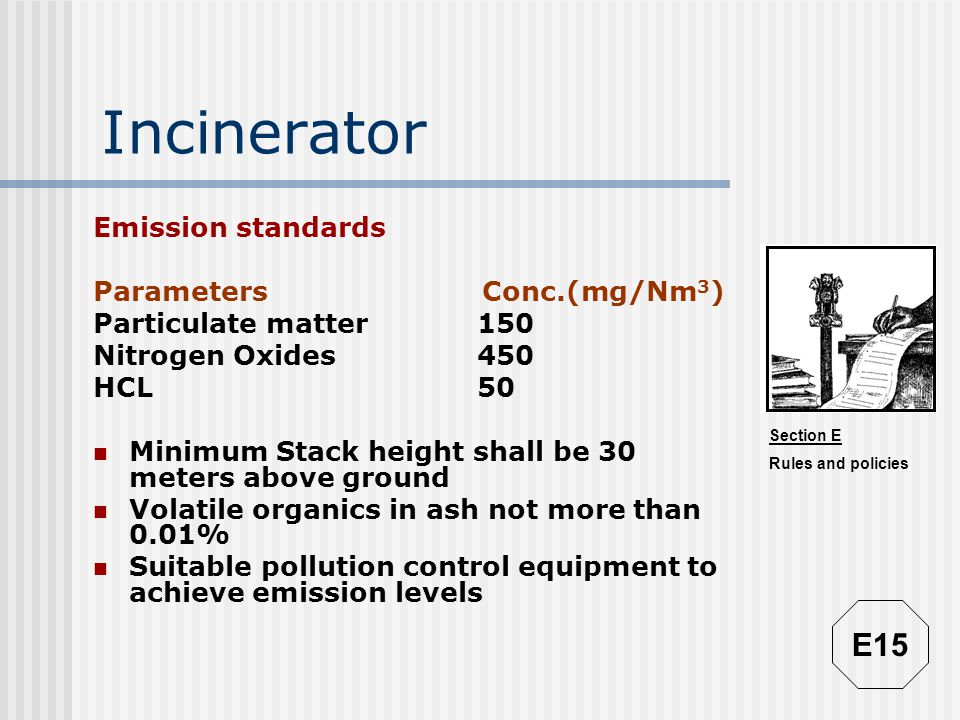 Incinerator E15 Emission standards Parameters Conc.(mg/Nm3)