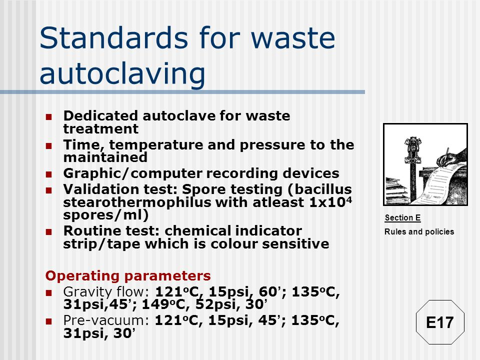 Standards for waste autoclaving