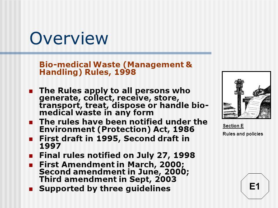 Overview E1 Bio-medical Waste (Management & Handling) Rules, 1998