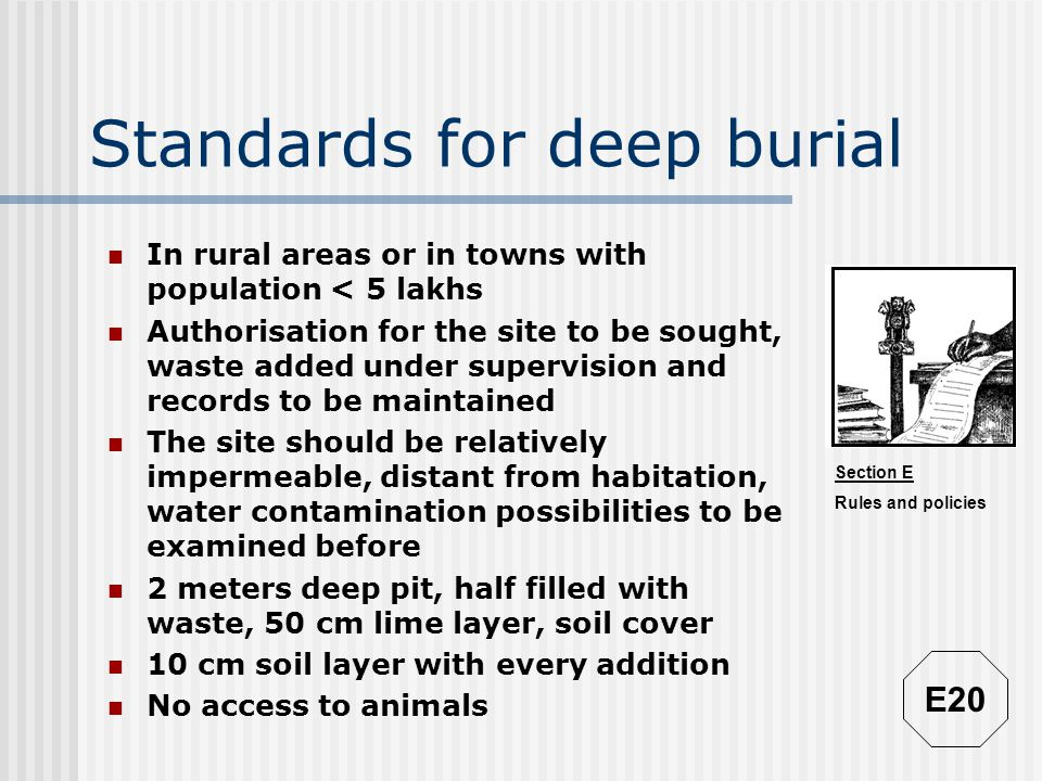 Standards for deep burial