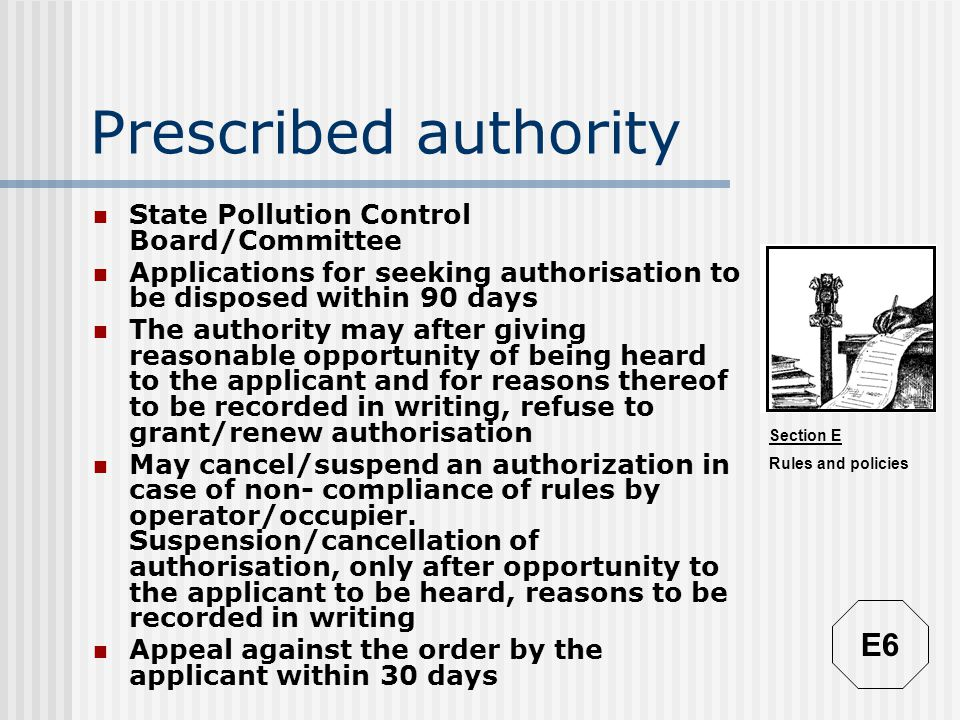 Prescribed authority E6 State Pollution Control Board/Committee