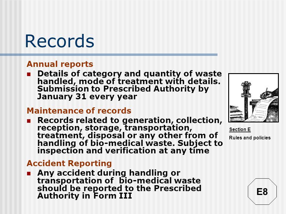 Records E8 Annual reports