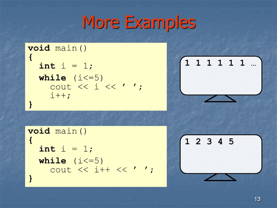 More Examples void main() { int i = 1; while (i<=5) 1 1 1 1 1 1 …