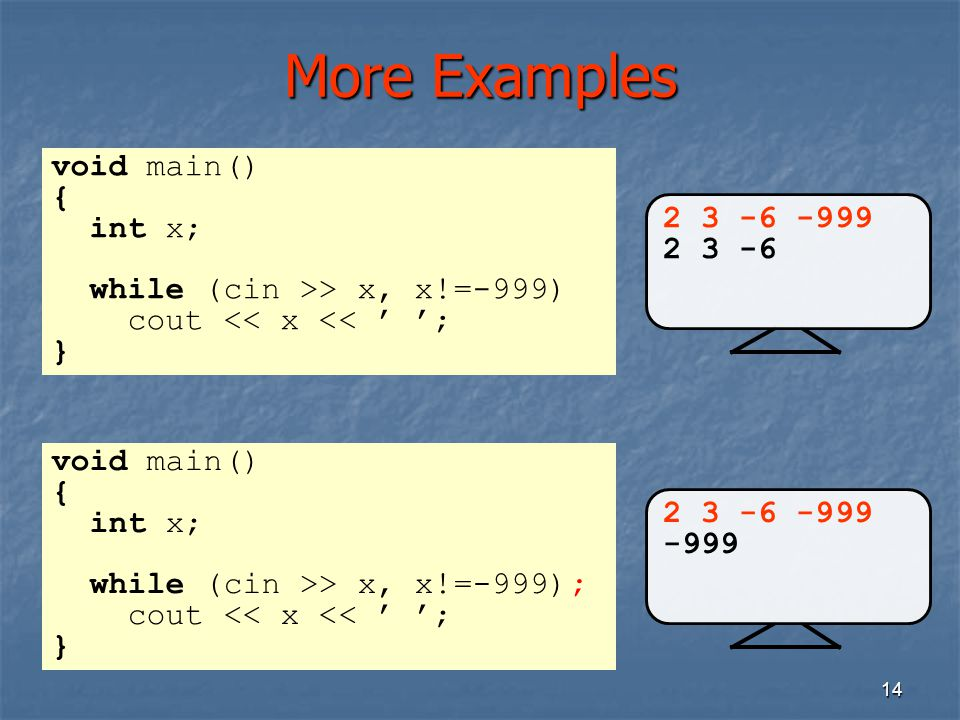 More Examples void main() { int x; 2 3 -6 -999