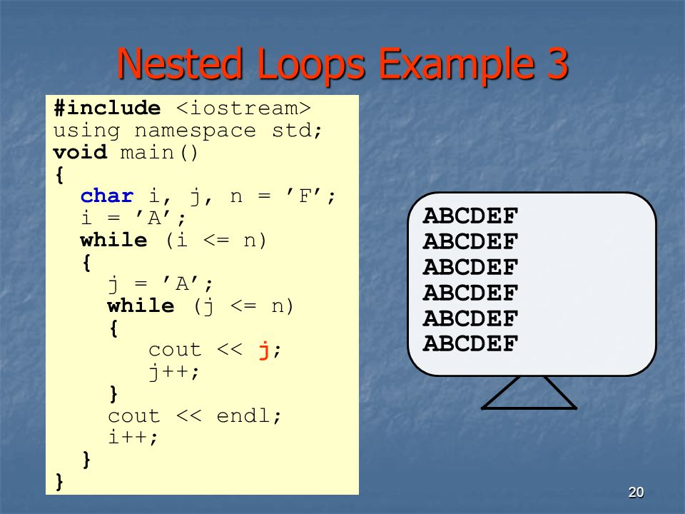 Nested Loops Example 3 ABCDEF #include <iostream>