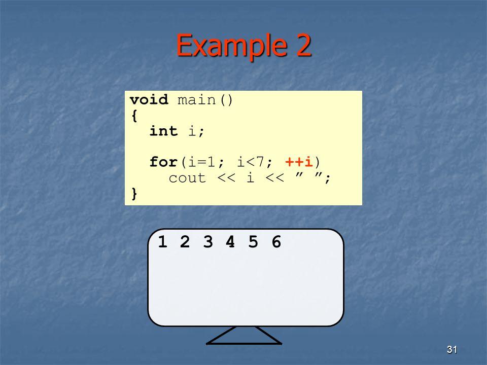 Example 2 1 2 3 4 5 6 void main() { int i; for(i=1; i<7; ++i)