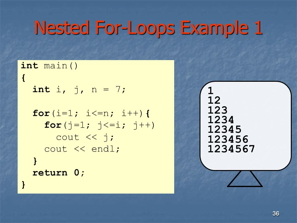 Nested For-Loops Example 1