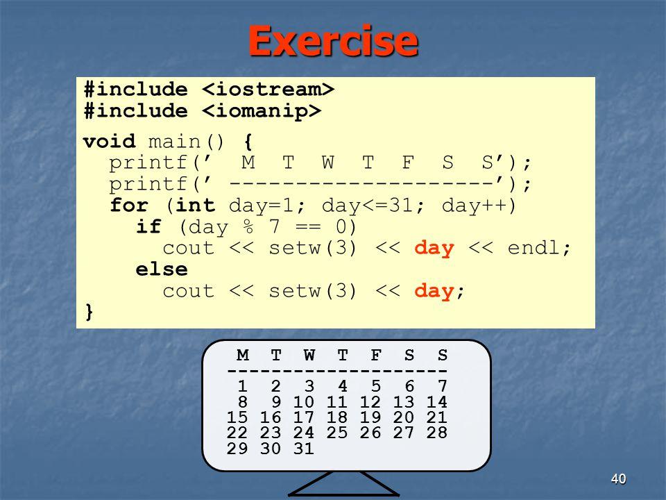 Exercise #include <iostream> #include <iomanip>