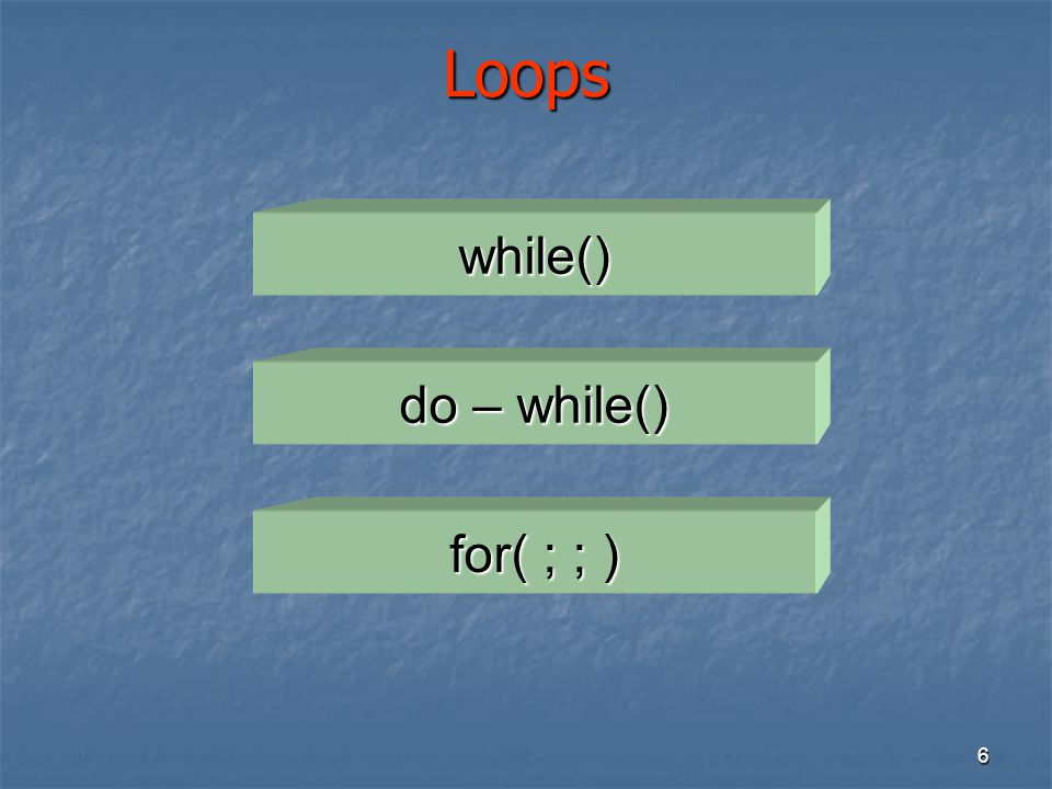 Loops while() do – while() for( ; ; )