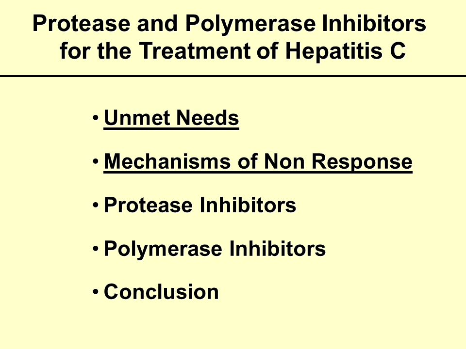 Protease and Polymerase Inhibitors for the Treatment of Hepatitis C