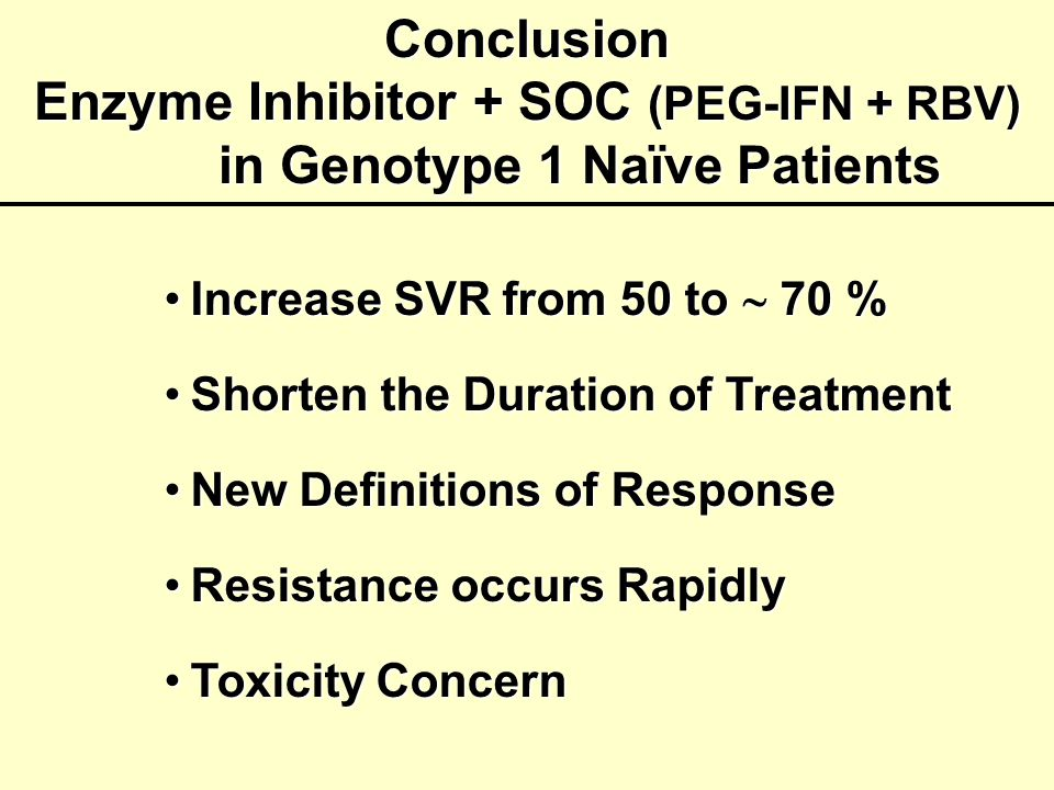 Enzyme Inhibitor + SOC (PEG-IFN + RBV) in Genotype 1 Naïve Patients