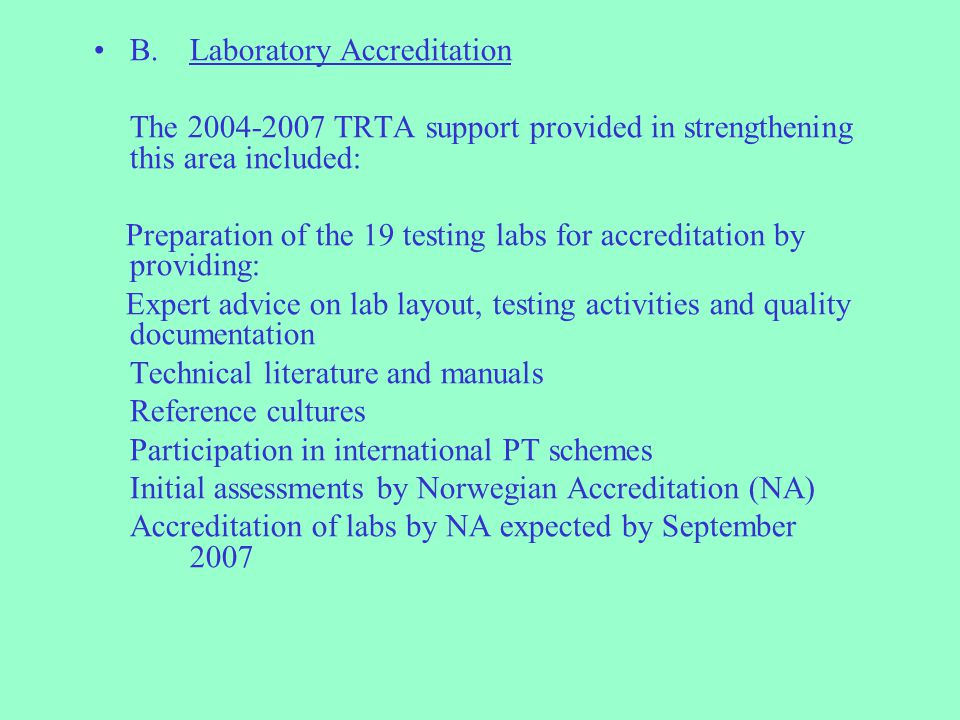 B. Laboratory Accreditation