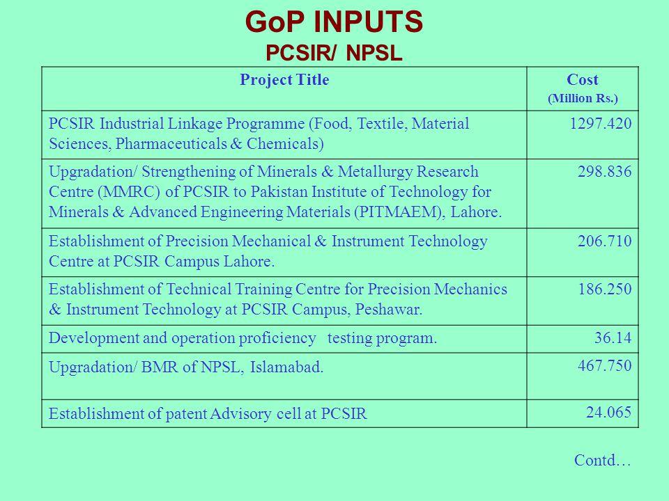 GoP INPUTS PCSIR/ NPSL Project Title Cost
