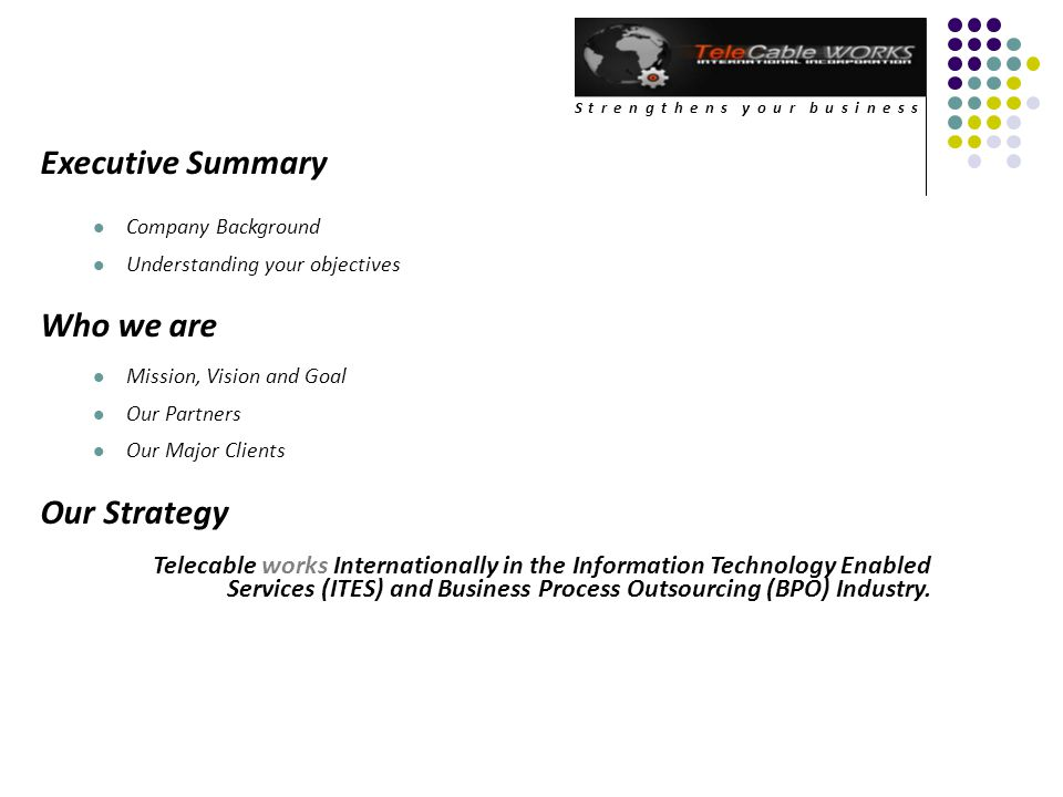 Executive Summary Who we are Our Strategy